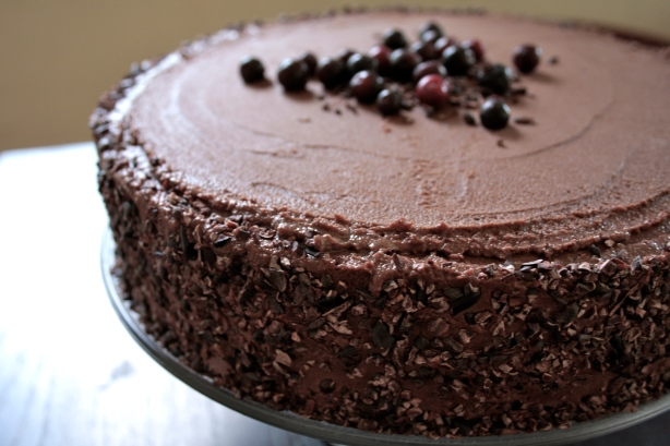 chocolate quinoa cake with saskatoon syrup