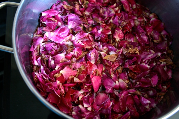 processing rose petals