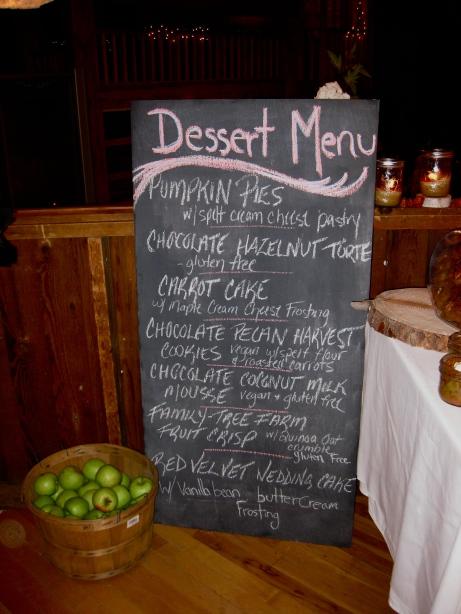 wedding dessert menu